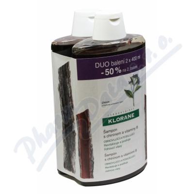KLORANE Šampon chinin-vypadávání vlasů 400ml DUO