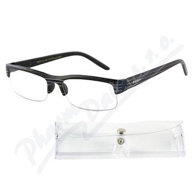 Brýle čtecí +1.00 černé s pruhy a pouzdrem