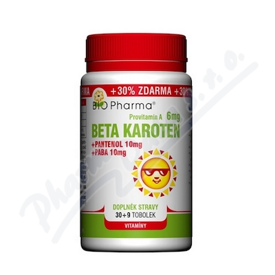Beta Karoten 6mg+Pantenol 10mg+PABA10mg tob.100+30