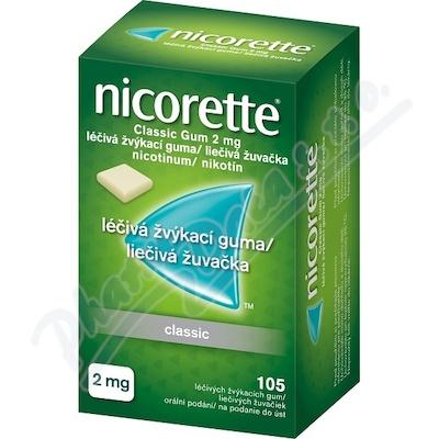Nicorette Classic Gum 2 mg léčivá žvýkací guma 105
