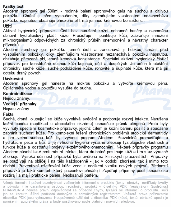 BIODERMA Atoderm sprchový gel 500ml