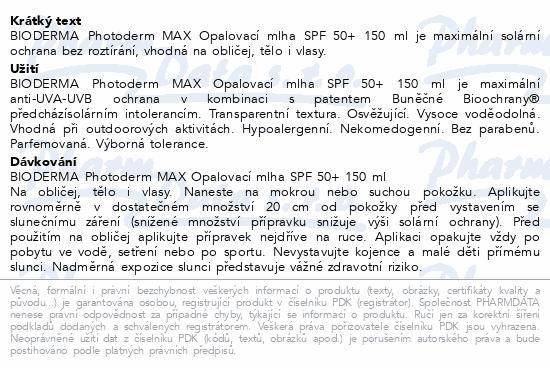 BIODERMA Photoderm opalovací mlha SPF50+ 150ml