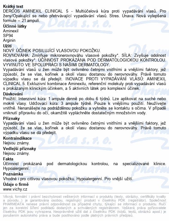 VICHY Dercos Aminexil Clinical 5 ženy 21x6ml