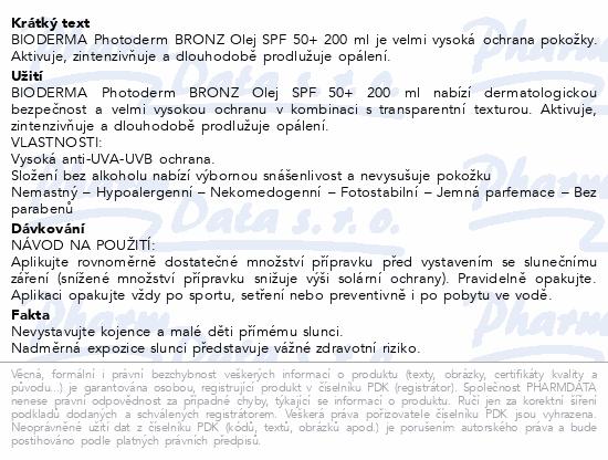 BIODERMA Photoderm BRONZ olej SPF50+ 200ml