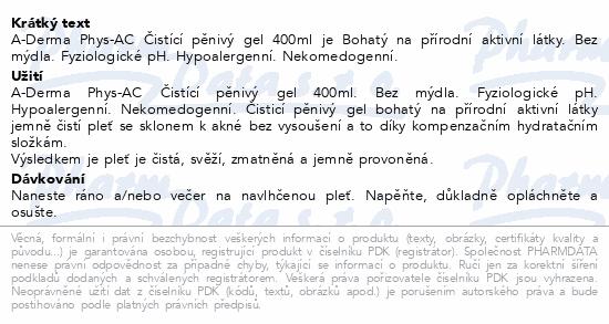 A-DERMA Phys-AC Čisticí pěnivý gel 400ml