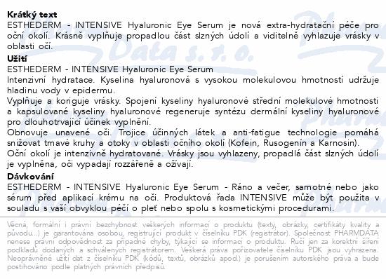 ESTHEDERM INTENSIVE Hyaluronic Eye Serum 15ml