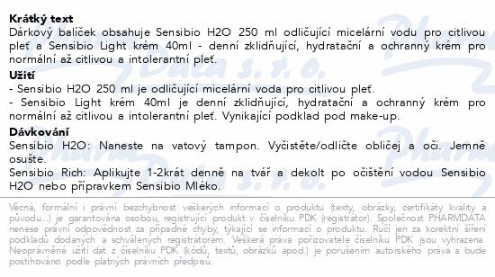 BIODERMA Sensibio H2O 250 ml + Light 40ml+taštička