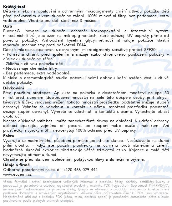 EUCERIN SUN Dětské ml. s mikropigmenty SPF30 150ml
