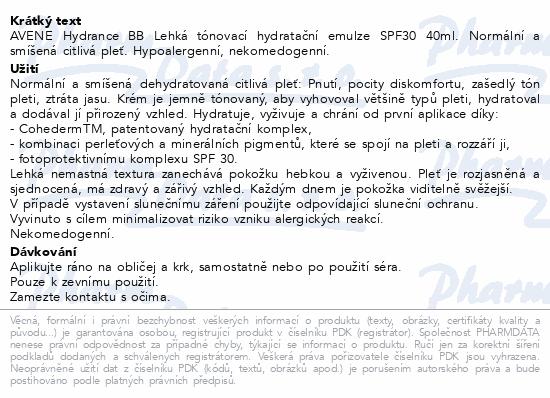 AVENE Hydrance BB Lehký hydr.tón.krém SPF30 40ml