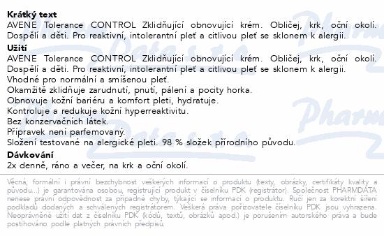 AVENE Tolerance CONTROL krém 40ml