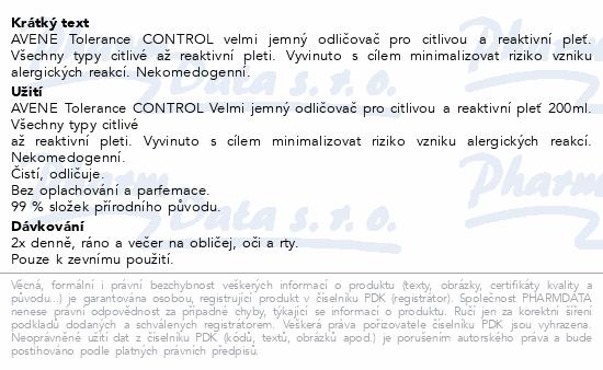 AVENE Tolerance CONTROL Odličovač 200ml