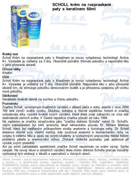 Máte dotaz k produktu Scholl krém na rozpraskané paty s keratinem 60ml 44913ce245